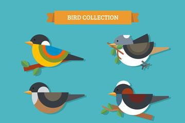 6款彩色树枝上的鸟矢量素材