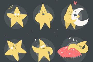 6款彩绘表情星星矢量素材