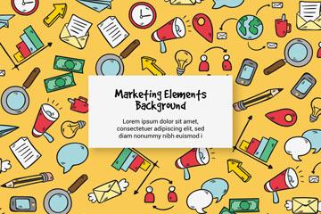 彩绘市场营销元素无缝背景矢量图