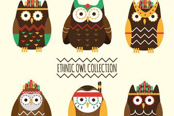 6款彩绘部落装扮猫头鹰矢量素材