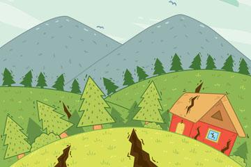创意地震灾害插画矢量素材