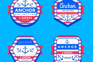 4款创意航海标签设计矢量图