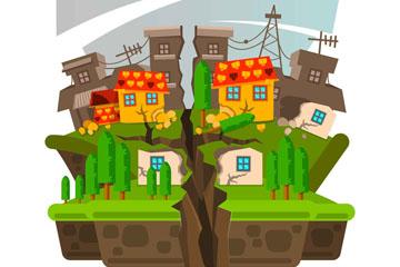 创意地震灾害中的房屋建筑矢量素材
