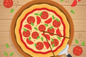美味香肠披萨矢量素材