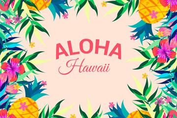 彩绘夏威夷花草水果框架矢量图