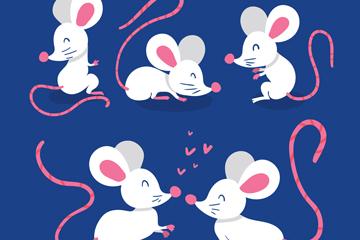 5款白色老鼠设计矢量素材
