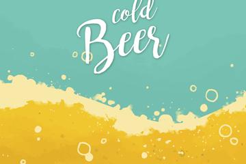 彩绘凉爽啤酒海滩矢量素材