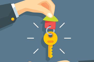 创意拿房屋钥匙的手臂矢量素材