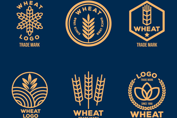 6款精致麦子标志矢量素材