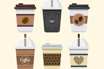6款创意纸质外卖咖啡杯矢量素材