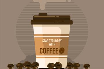 创意外卖咖啡和咖啡豆矢量素材