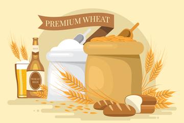 创意麦子和面粉矢量素材