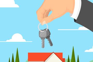 创意房屋和拿钥匙的手臂矢量图