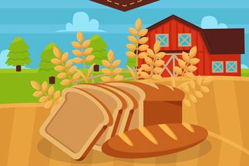创意农场麦田和面包矢量素材