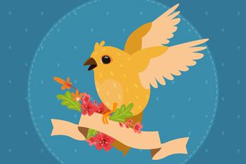 彩色花鸟装饰空白条幅矢量图