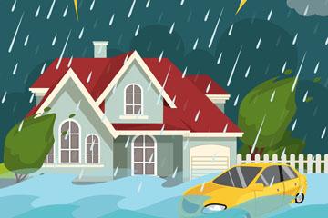 创意洪水灾害插画矢量素材