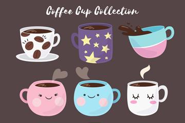 9款彩绘可爱咖啡杯矢量素材