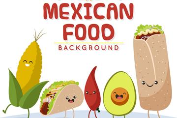 5款卡通墨西哥食物矢量素材