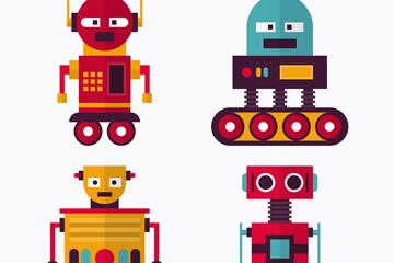 4款扁平化机器人设计矢量素材