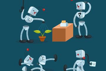 4款卡通银色机器人矢量素材