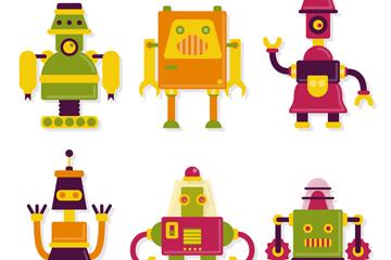 6款创意拼色机器人矢量素材