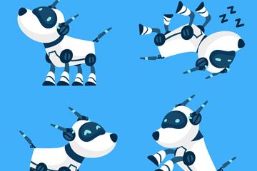 4款创意机器狗矢量素材
