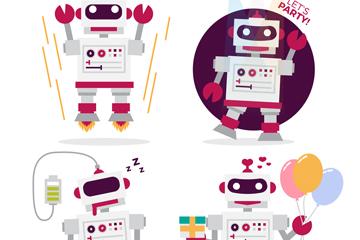 4款创意机器人动作矢量素材