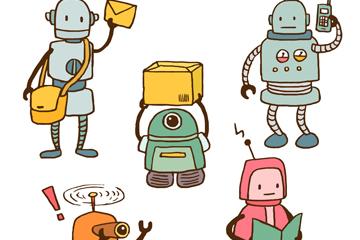 5款手绘工作中的机器人矢量图