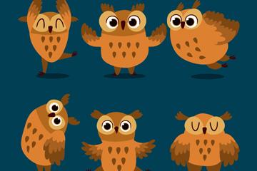 6款可爱棕色猫头鹰矢量素材