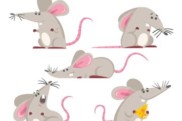 5款创意灰色老鼠矢量素材