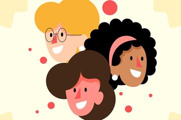 创意妇女节3个女子头像矢量素材