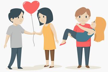 2对创意情人节情侣矢量素材