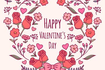 彩绘情人节花卉组合爱心矢量图