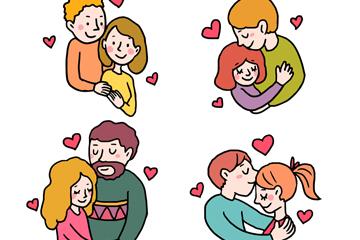 4对幸福情人节情侣矢量素材