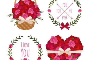 4款创意情人节花卉元素矢量图