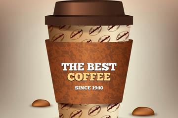 立体外卖咖啡和咖啡豆矢量图