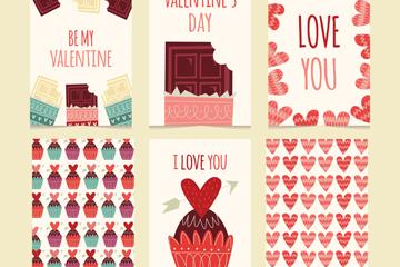 6款彩绘情人节甜点卡片矢量素材