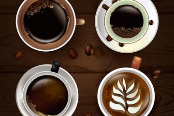 4款精美咖啡俯视图矢量素材