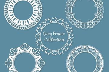5款白色圆形蕾丝框架矢量素材