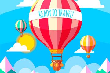 扁平化雪山上空的旅行热气球矢量