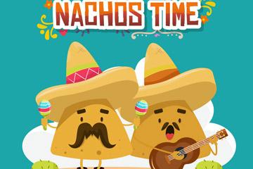 卡通墨西哥弹乐器的玉米片矢量图
