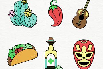 6款手绘墨西哥元素矢量素材