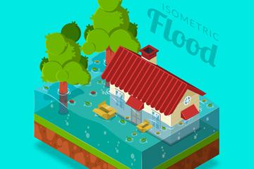 创意立体洪灾中的房屋矢量素材