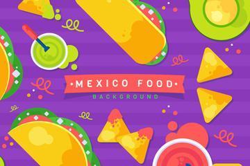 美味墨西哥食物俯视图矢量素材
