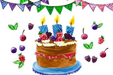 水彩绘水果生日蛋糕矢量素材