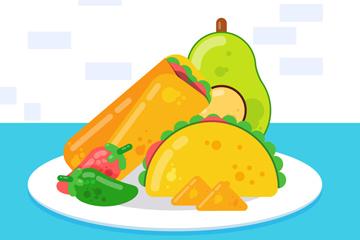 创意餐盘中的墨西哥特色食物矢量图