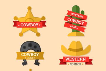 6款扁平化西部牛仔元素标签矢量图