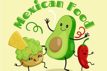 卡通跳舞的墨西哥表情食物矢量图