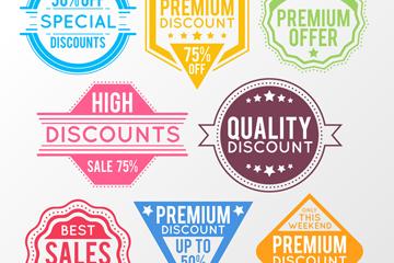 8款彩色促销标签设计矢量素材