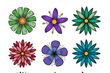 9款手绘花朵设计矢量素材